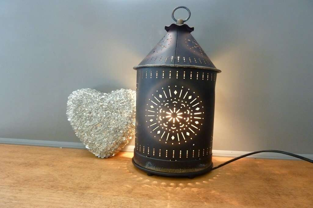 Tin Punched Candle Warmer Primitive Tin